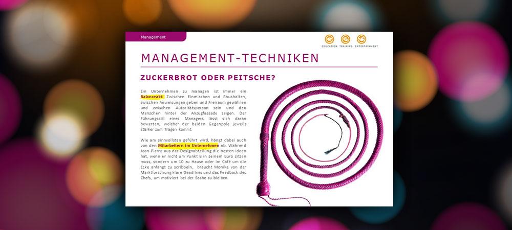 Management-Techniken: Zuckerbrot oder Peitsche?