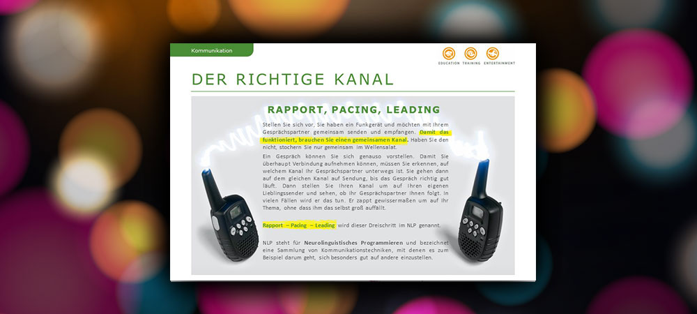 Der richtige Kanal: Rapport, Pacing, Leading