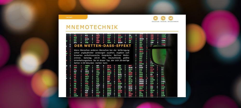 Mnemotechniken: Der Wetten-dass-Effekt