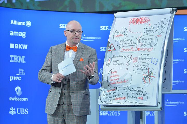 Albrecht Kresse als Mr. Summarizer auf dem Swiss Economic Forum 2015